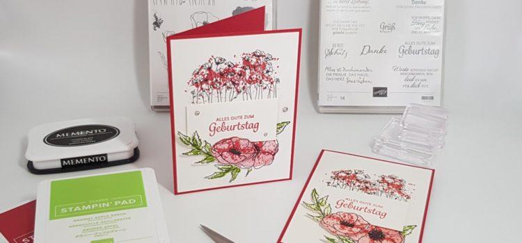 """Einfache Karte mit """"Painted Poppies"""""""